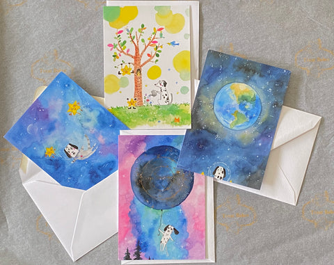 Dalmatian Watercolour Greeting Cards (Set Of 4)