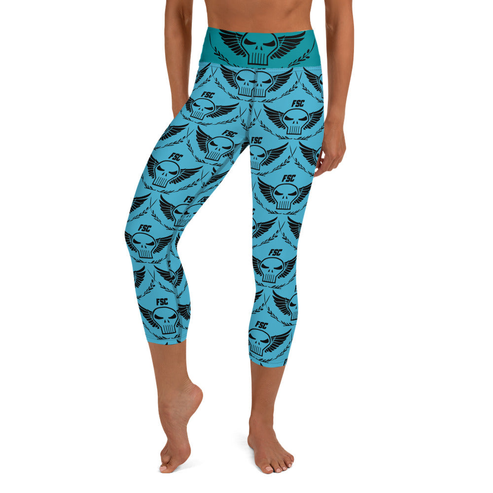 Team FSC Skulls Capri Leggings BLUE & TEAL