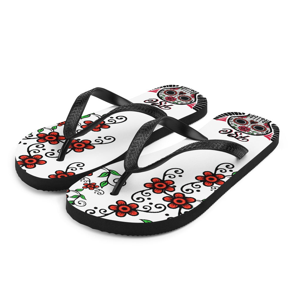 Team FSC Sugar Skull Flip-Flops WHITE