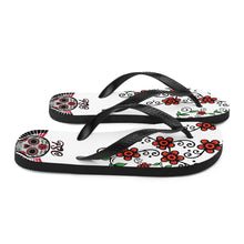 Load image into Gallery viewer, Team FSC Sugar Skull Flip-Flops WHITE
