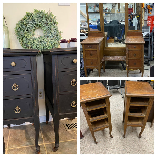 Repurposed Antique Vanity to Side Tables