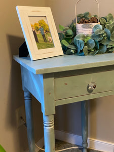 Shabby chic green chippy table