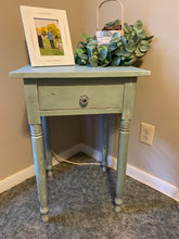 Load image into Gallery viewer, Shabby chic green chippy table