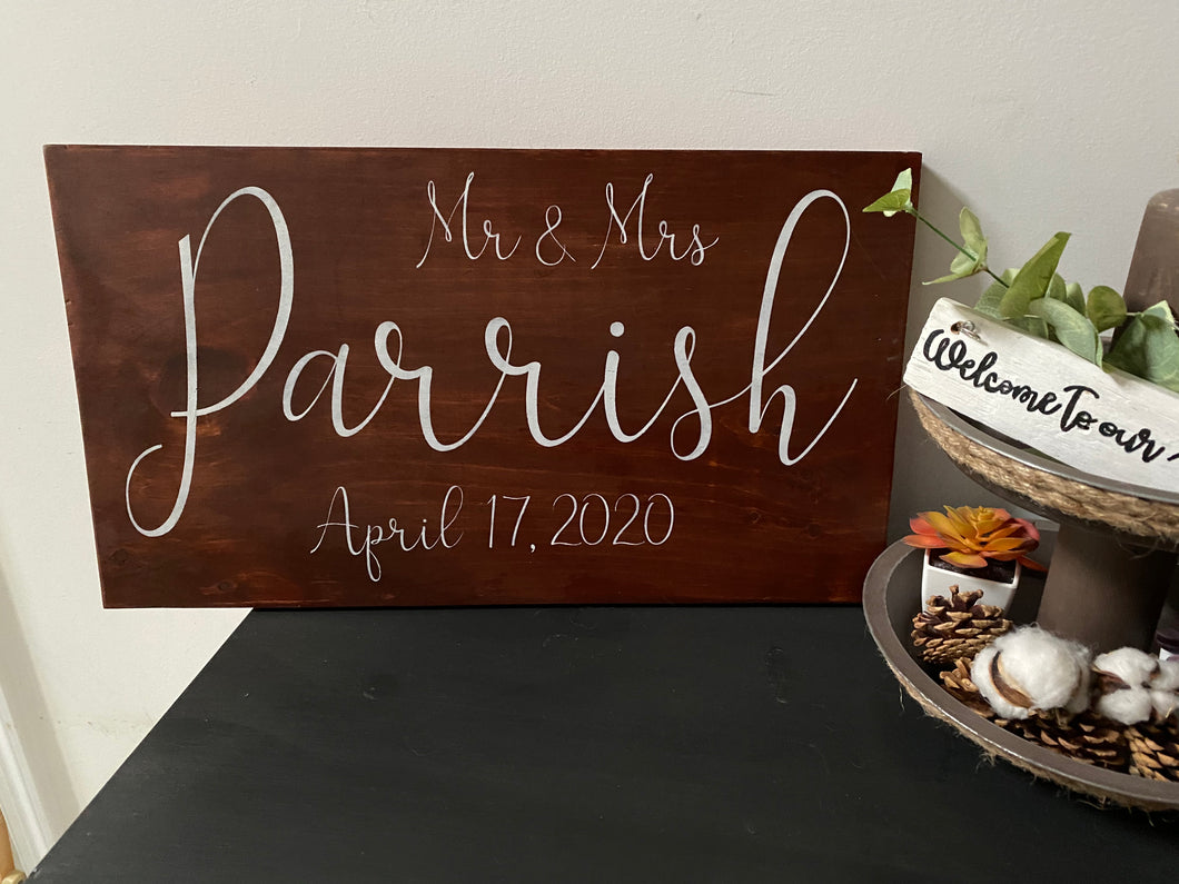 Mr. & Mrs. Personalized Sign