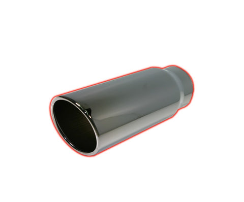 Rolled Angle Cut | Black Chrome Exhaust Tip