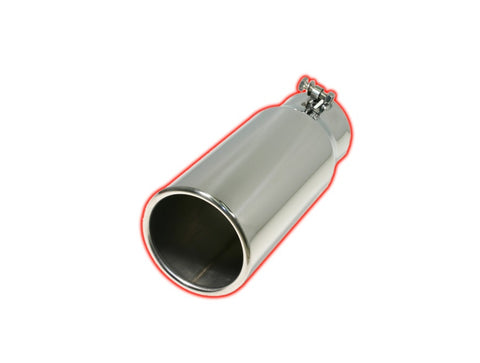 Bolt-on Pencil Tip | Polished 304 Stainless Exhaust Tip