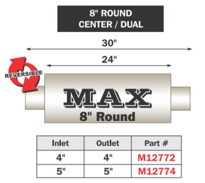 "FLO~PRO Max Muffler | Center/Center 30"" Total Length"