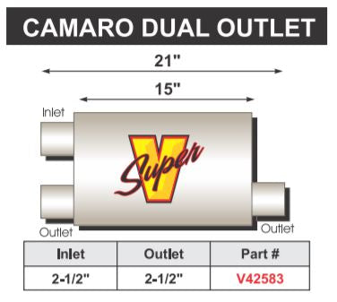 "FLO~PRO Super V Double Chamber | 15"" Body Camaro Dual Outlet"