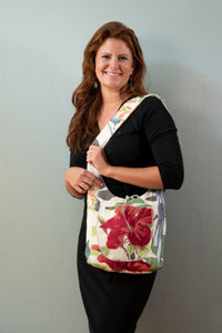 Reversible One-of-a-Kind Fabric Bag - Red Hibiscus with Embroidered Accents
