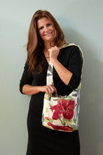 Load image into Gallery viewer, Reversible One-of-a-Kind Fabric Bag - Red Hibiscus with Embroidered Accents