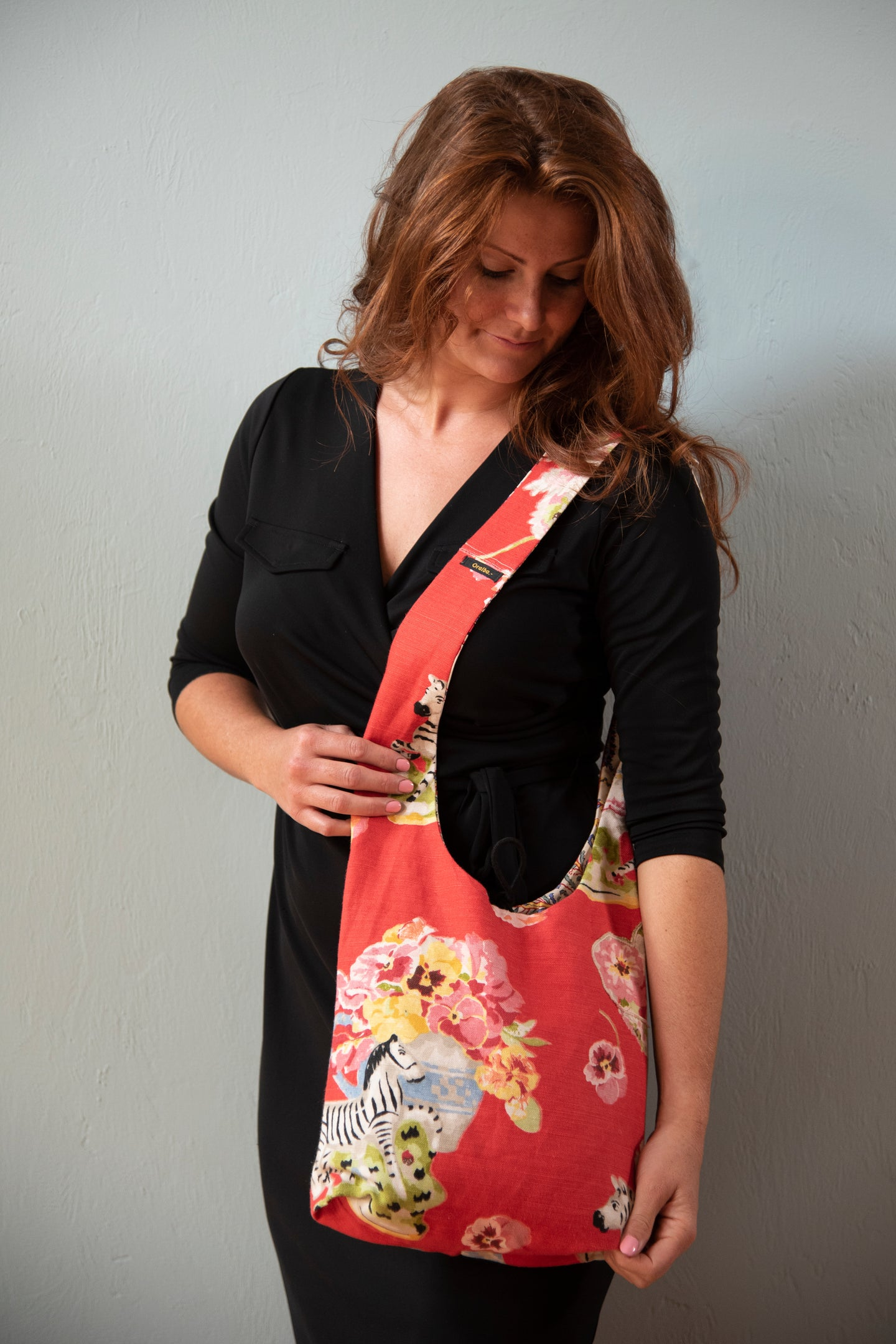 Reversible One-of-a-Kind Fabric Bag - Red Floral with Zebra
