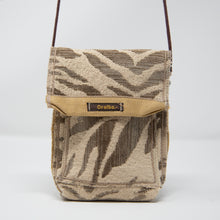 Load image into Gallery viewer, One-of-a-Kind Fabric Pouch Bag - Dark Taupe and Cream Zebra