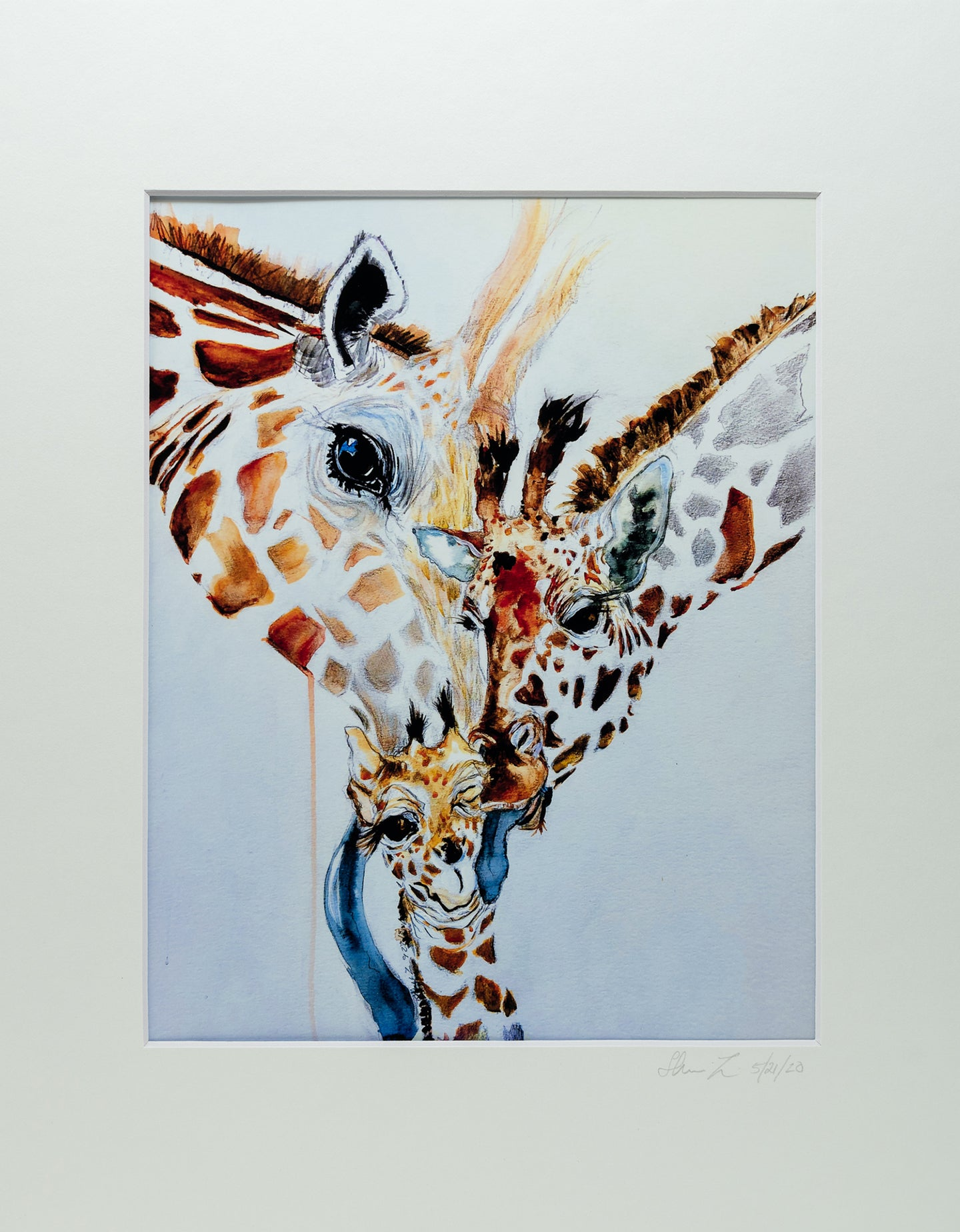 Original Watercolor Print - Giraffe Family