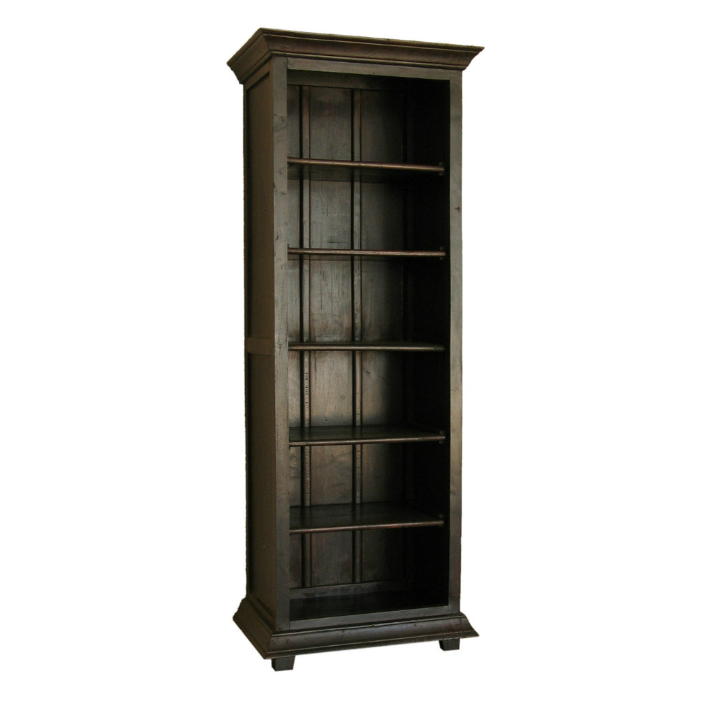 The Alexander Bookcase is a traditional piece made of solid wood. Available in Espresso.