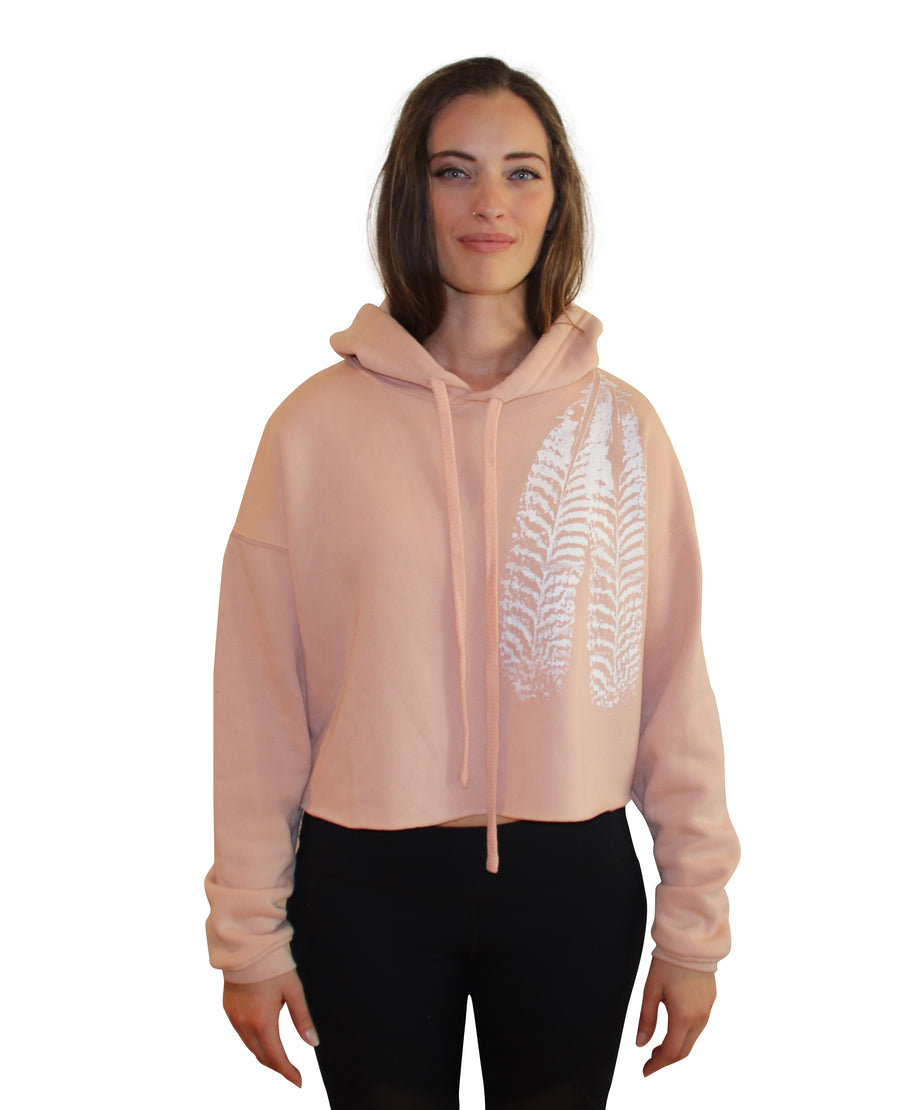 FEATHER PRINT Crop Hoodie-Wholesale