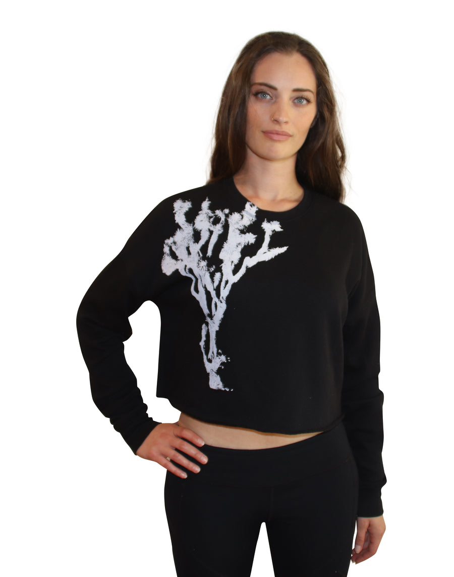 JOSHUA TREE PRINT Crew Neck Crop Fleece-Wholesale