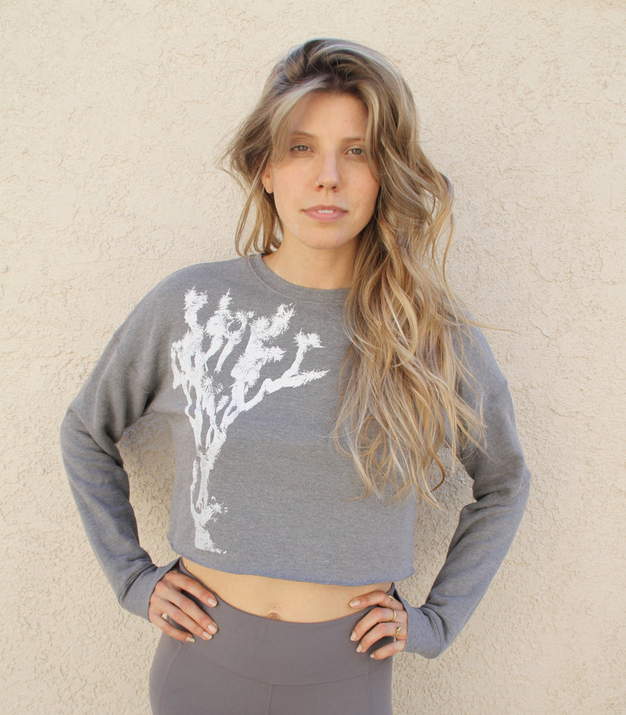 JOSHUA TREE PRINT Crew Neck Crop Fleece