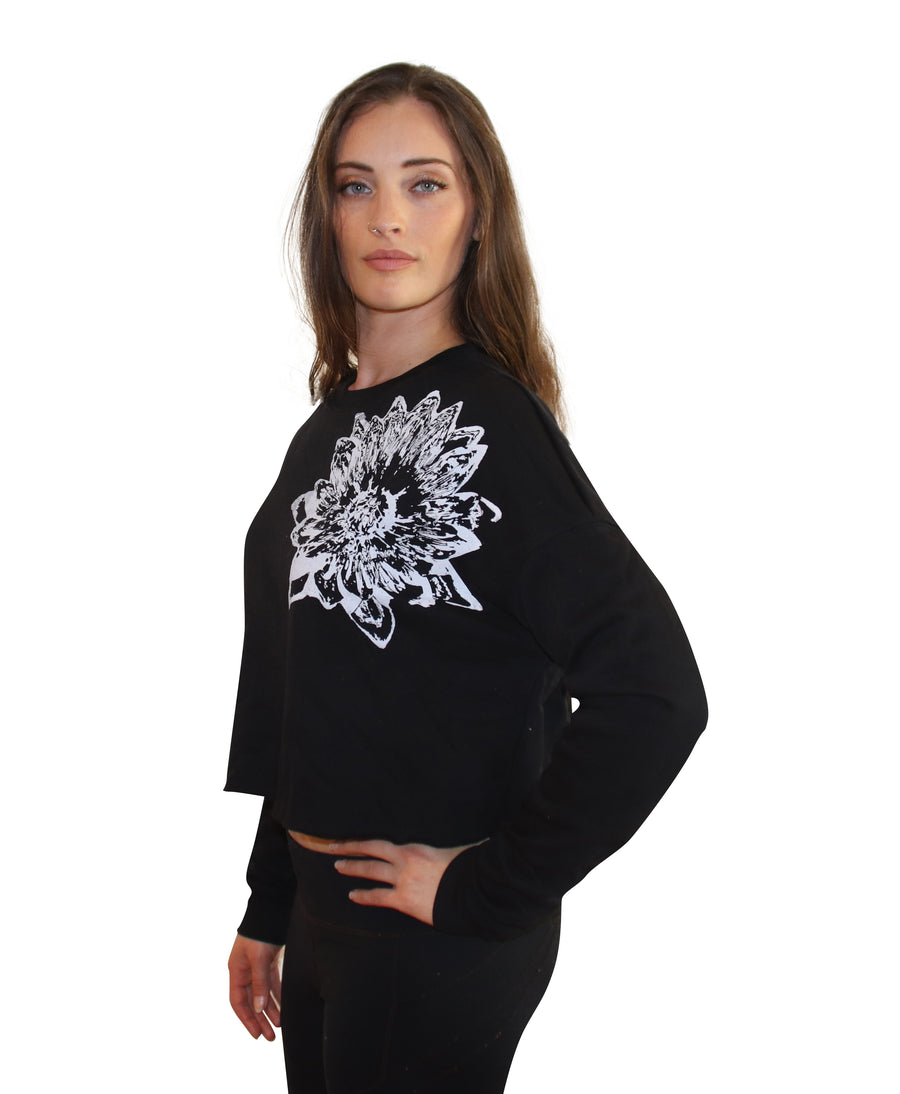 LOTUS PRINT Crop Crew Neck