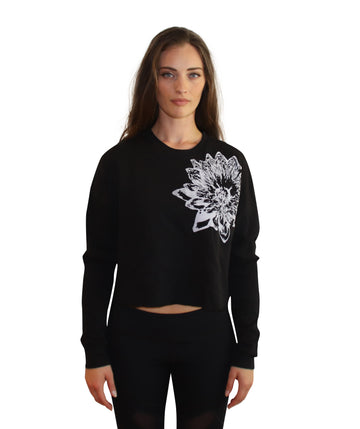 LOTUS PRINT Crop Crew Neck-Wholesale