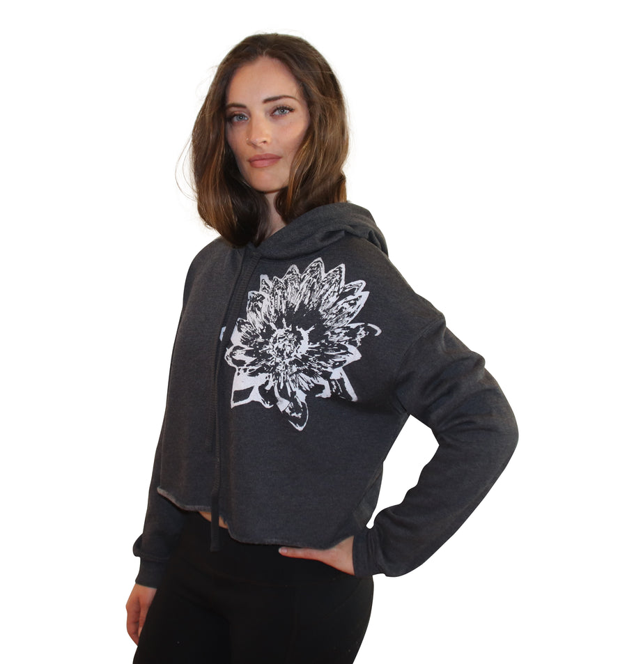 LOTUS PRINT Crop Hoodie-Wholesale