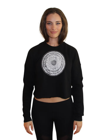 MANDALA Print Crop Crew Neck-Wholesale