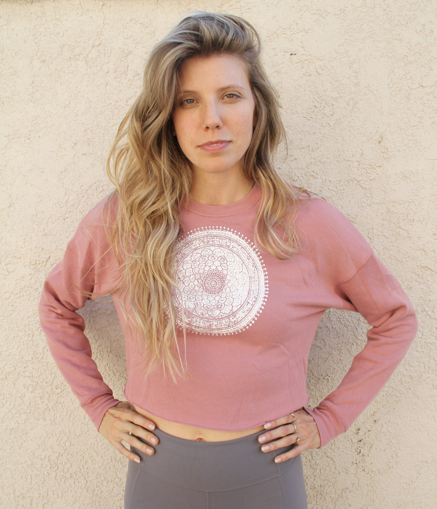 MANDALA Print Crew Neck Crop Fleece