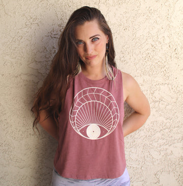 OPEN EYE Racerback Crop Tank