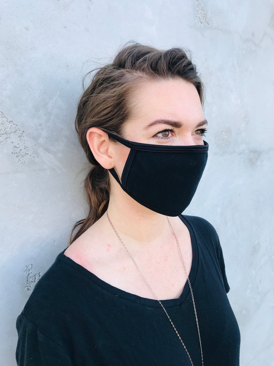 Cloth Face Mask double layered/Reusable & Washable/Unisex/100% Cotton/Breathable, Lightweight and Comfortable- Classic Black