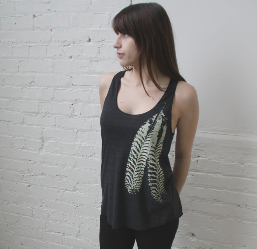 Feather on Tri-Blend Racerback Tank- design and print by Blonde Peacock. - Wholesale