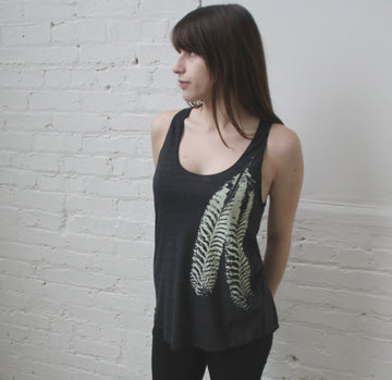 Feather on Tri-Blend Racerback Tank- design and print by Blonde Peacock.