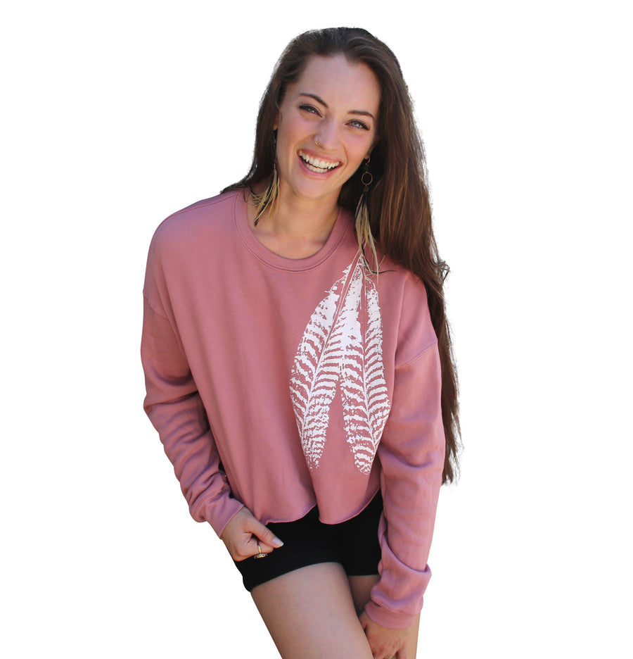 FEATHER Crew Neck Crop Fleece