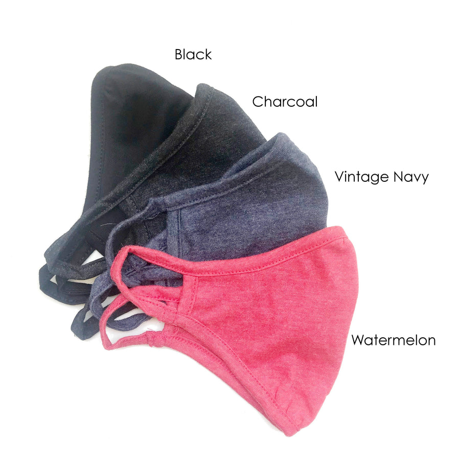 Youth Lightweight Face Mask- 4 Colors, 2 layers/Reusable & Washable/Very Comfortable, Breathable/Eco-Friendly/Ships Immediately!