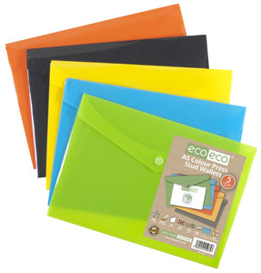 Eco-Eco Press Stud Wallet A5 50% Recycled Assorted Colours x 5