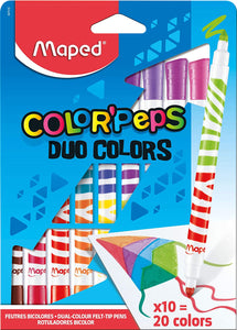 Maped Duo Color Peps Felt Tips x 10