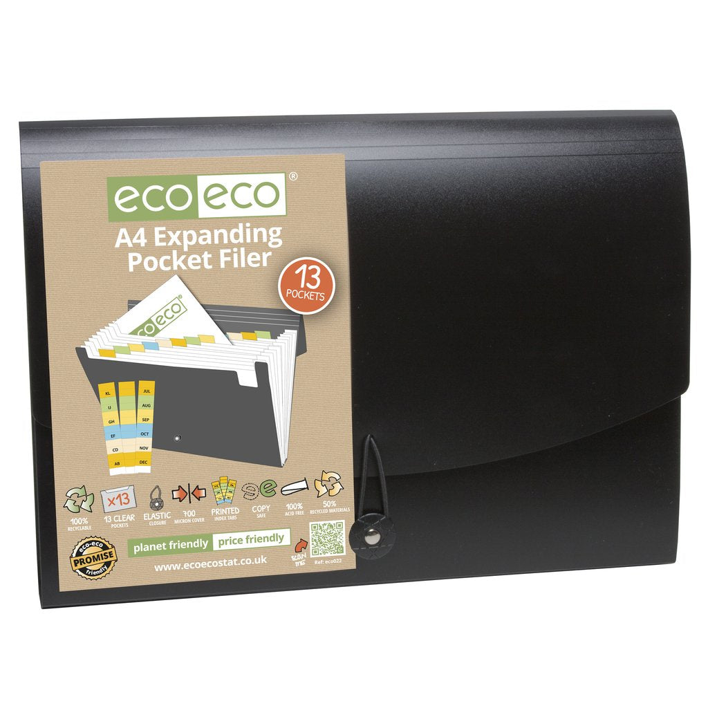 Eco-Eco Black Expanding File A4 50% Recycled 13 Pockets
