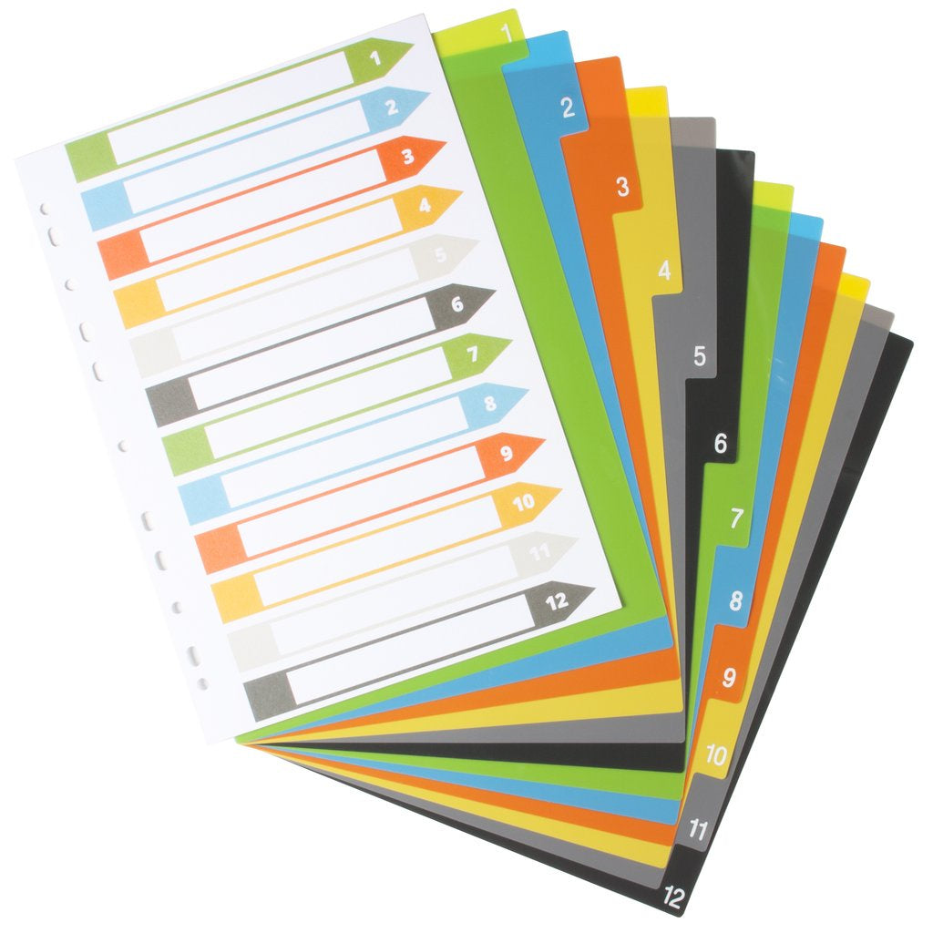 Eco-Eco Index File Dividers A4 Set 12 - 200 Microns