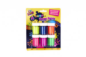 6 Neon Finger Paint Pots