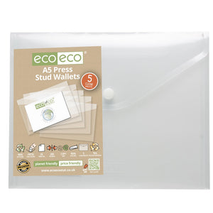 Eco-Eco A5 Clear Press Stud Wallets 95% Recycled x 5