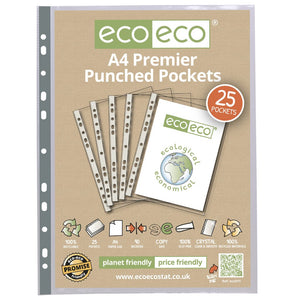 Eco-Eco Premier Multi Punched Pockets A4 100% Recycled Pack 25