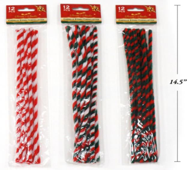 Pack of 12 Christmas Chenille Stems