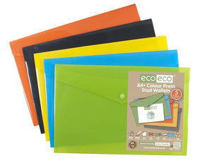 Eco-Eco Press Stud Wallet Assorted Colours A4 + 50% Recycled x 5
