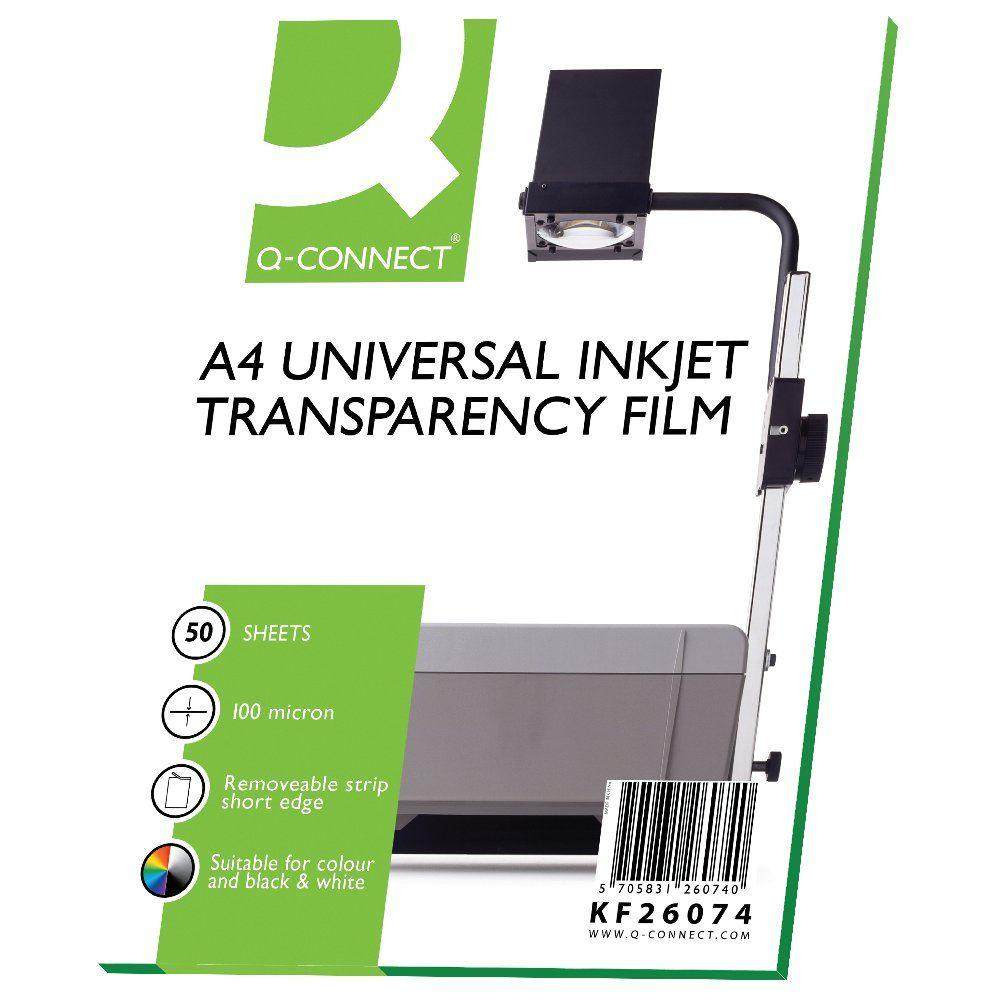 Q Connect Inkjet Over Head Projector Film - Pack 50