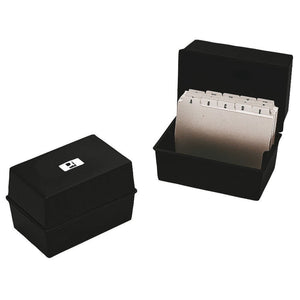 Q Connect Card Index Box 6x4 Black