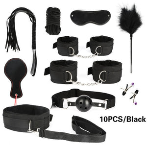 26 PCS Adults Sex Toys For Women Men Handcuffs Nipple Clamps Whip Spanking Sex Metal Anal Plug Vibrator Butt Bdsm Bondage Set