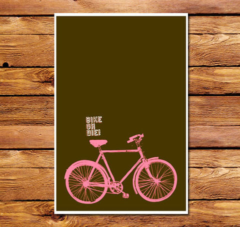 Bike Or Die Brown Poster
