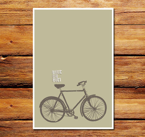 Bike Or Die Lt Brown Poster