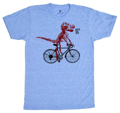 Bike Or Die Dino - Heather Blue