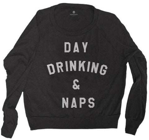 Day Drinking & Naps - Raglan Sweatshirt - TriBlack