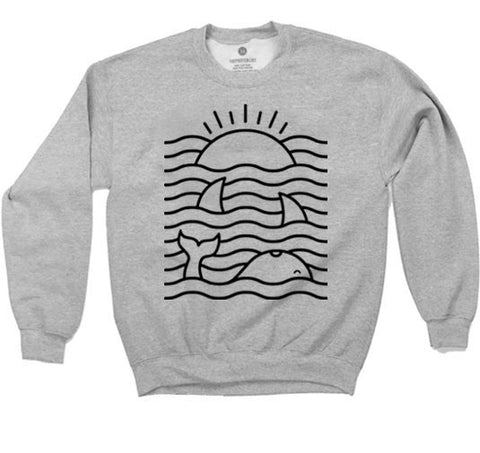 Ocean Waves - Sweatshirt - Heather Grey