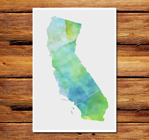 Watercolor State Poster